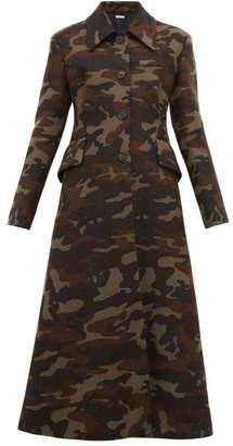 Miu Miu Single Breasted Camouflage Print Wool Coat - Womens - Green Multi