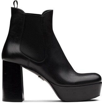 Prada Platform Leather Ankle Boots