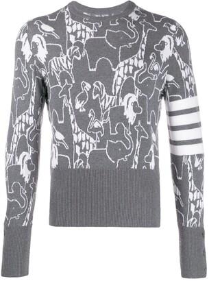 Thom Browne 4-Bar animal intarsia jumper