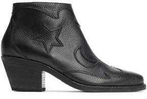 McQ Solstice Cutout Pebbled-leather Ankle Boots