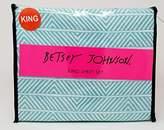Betsey Johnson 4pc King Sheet Teal and White Chevron Stripes