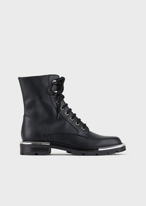 Giorgio Armani Opaque Leather Biker Boots With Pleated Metal Details