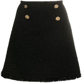 Liu Jo Button-Detail Tweed Skirt