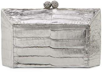 Nancy Gonzalez Geo Kiss-Lock Metallic Crocodile Minaudiere Clutch Bag