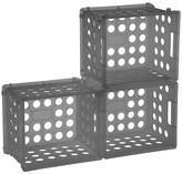 Room Essentials Set of 3 Mini Crate Storage Bins - Gray