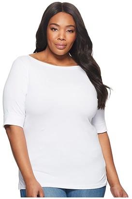 Lauren Ralph Lauren Plus Size Stretch Cotton Boat Neck Tee (Polo Black) Women's T Shirt