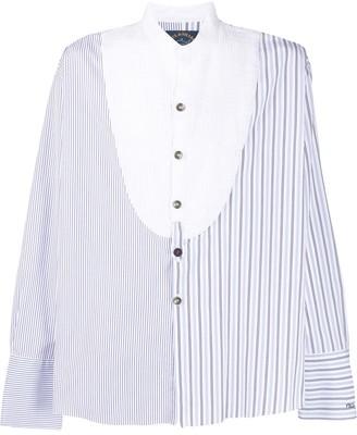 Paul & Shark x Greg Lauren pleated bib striped shirt