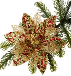 Holiday Lane Santa's Favorites Sequin and Glitter Poinsettia Clip Ornament, Created for Macy's