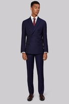 Moss Bros Skinny Fit Navy Jacquard Double Breasted Suit