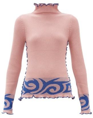 JoosTricot Jacquard High-neck Wool-blend Sweater - Womens - Light Pink