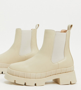 Raid Wide Fit Turner chunky chelsea boots in stone drench