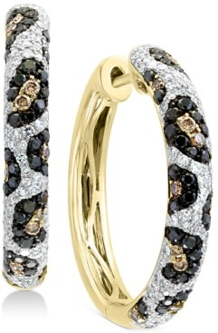 Effy Multi-Color Diamond Hoop Earrings (1-1/4 ct. t.w.) in 14k Gold