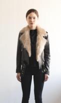 LaBete - La Bete - Moto Jacket with Tan Fur Collar 5892257477