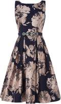 Eliza J Sleevless boat neck fit and flare dress