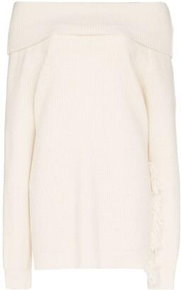 Stella McCartney off- the-shoulder fringe sweater