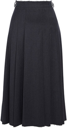 Gabriela Hearst Wesley Pleated Frayed Wool-flannel Midi Skirt