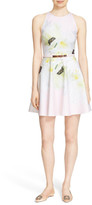 Ted Baker &Tuliaa& Belted Floral Print Neoprene Skater Dress