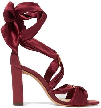 Alexandre Birman Alessa Lace-up Satin Sandals