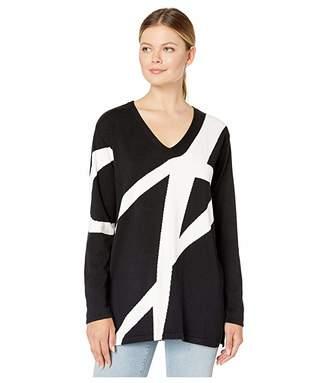 Vince Camuto Diagonal Stripe Color Block V-Neck Pullover Sweater