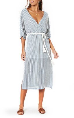 MinkPink Stripe Tie Waist Midi Dress