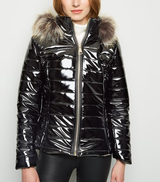 New Look Cameo Rose Patent Faux Fur Trim Puffer Jacket
