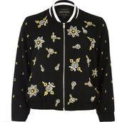 River Island Womens Black bead embellished bomber jacket