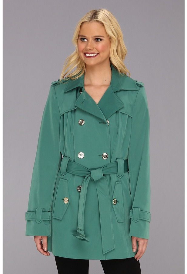 Calvin Klein Double Breasted Belted Pant Coat (Vintage Green) - Apparel