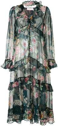 Zimmermann Frilled Floral Silk Shirt