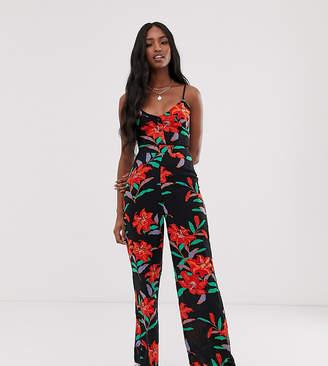 Parisian Tall cami strap jumpsuit in floral print-Black