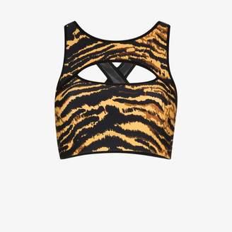Adam Selman Sport Womens Black Tiger Cutout Sports Bra