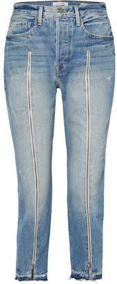 Frame Le Original Zip-embellished Frayed High-rise Straight-leg Jeans - Mid denim
