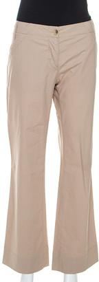 Gianfranco Ferre Beige Cotton Wide Fit Trousers M