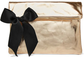 Clare Vivier Bow-embellished Metallic Textured-leather Clutch - Gold