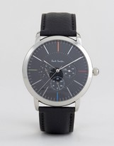 Paul Smith P10110 Ma Chronograph Leather Watch In Black