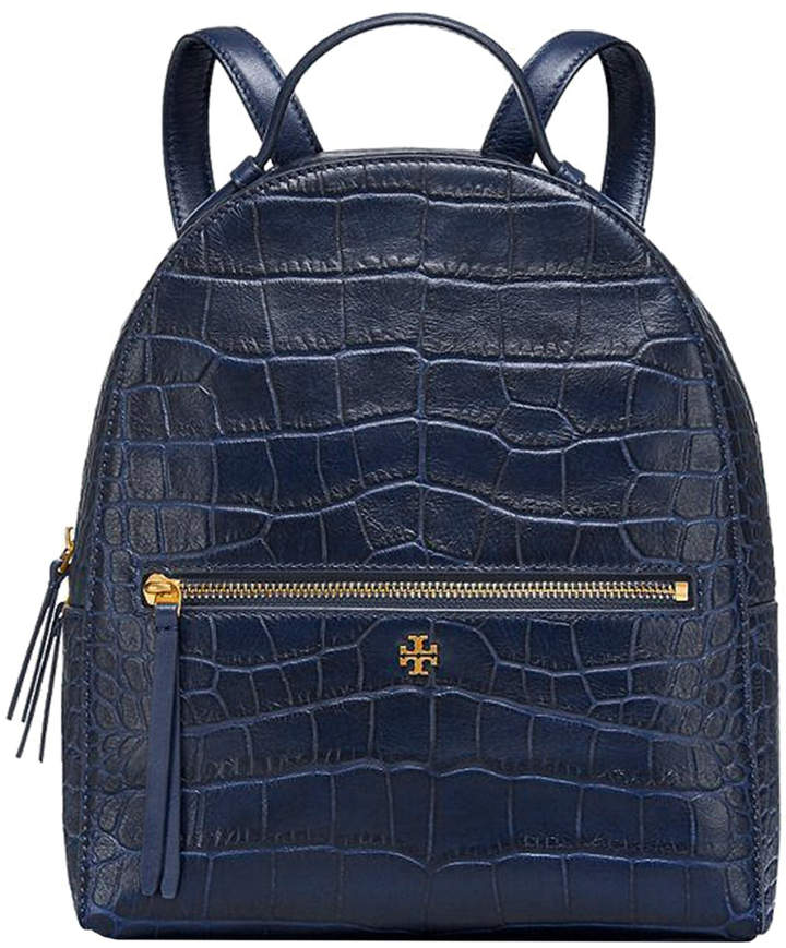 Tory Burch Croc-Embossed Mini Leather Backpack