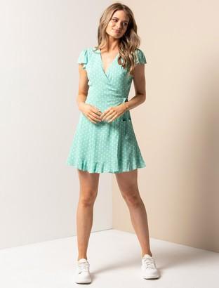 Forever New Nola Wrap Skater Dress - Mint Paris Spot - 10