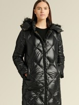 DKNY Quilted Puffer With Faux Fur Trim