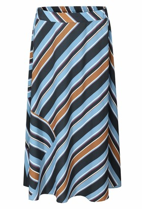 Basic Model Women's Wrap Maxi Chiffon Skirt Print High Waist Pleated Swing Skirt with Belt