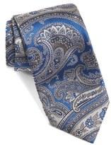 David Donahue Men's Paisley Floral Woven Silk Tie