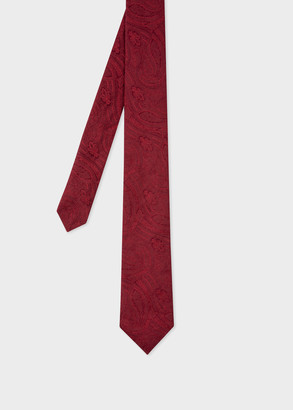 Paul Smith Men's Burgundy Tonal Paisley Silk Tie