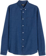 H&M Patterned Cotton Shirt - Dark blue/dotted - Men