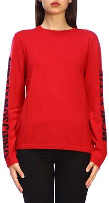 Moschino Sweater Long-sleeved Shirt With Maxi Side Logo In Jacquard