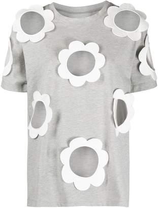 Viktor & Rolf daisy applique sheer panel T-shirt