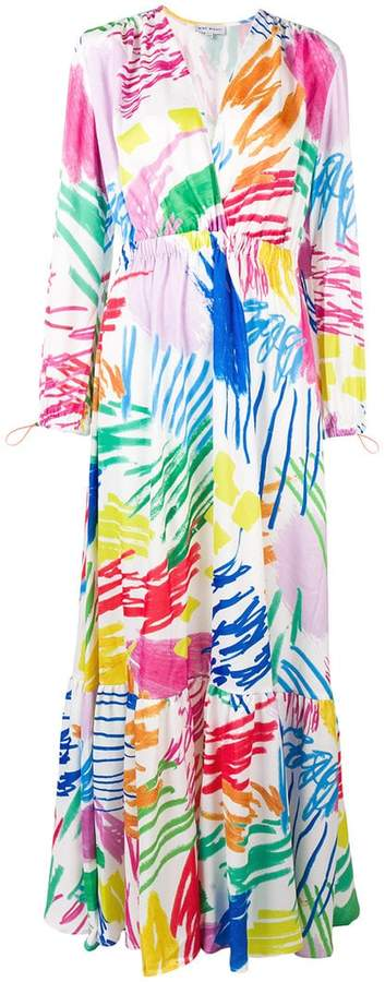 Mira Mikati scribble printed ruched waist dress