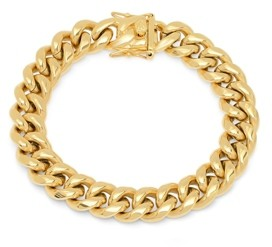 Steeltime Men's 18k gold Plated Stainless Steel Miami Cuban Chain Link Style Bracelet with 12mm Box Clasp Bracelet