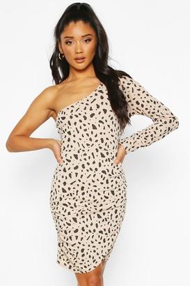 boohoo Dalmatian Print One Shoulder Ruched Mini Dress