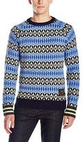 Scotch & Soda Men's Crewneck Pull in Fairisle Knit with Contrast Stripes At Cuffs
