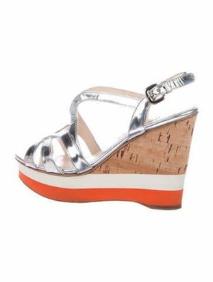 Prada Leather Slingback Sandals Silver