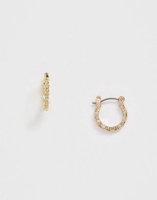 Pieces diamante mini hoop earrings