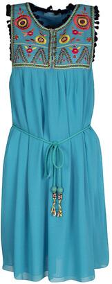 Matthew Williamson Blue Floral Embroidered Silk Pom Pom Trim Sleeveless Dress M